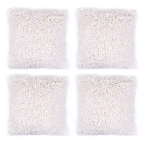 "Hivexagon Faux Fur CREAM Pillow Cover Set of 4 (17"" x 17"")"