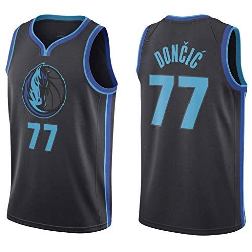 WOLFIRE WF Camiseta de Baloncesto para Hombre, NBA, Dallas Mavericks #77 Luka Doncic. Bordado, Transpirable y Resistente al Desgaste Camiseta para Fan (City Jersey, L)