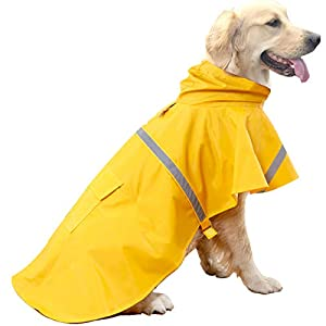 HAPEE Dog Raincoats for Dogs with Reflective Strip Hoodie,Rain Poncho Jacket