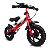 Bicicleta sin pedales Bici Bicicleta de Equilibrio con Freno de Mano: Bicicleta de Empuje sin Pedal para niñas, niños, neumáticos EVA de 12 Pulgadas, Bicicleta de Entrenamiento, 2/3/4/5/6 años