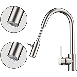 Rackaphile Single-Handle Kitchen Mixer Sink Tap with Pull Out Spray 360 Degree Swivel Kitchen Faucet Sprayer, Hot and Cold Water Spout Lead-Free Sink Faucet with UK Standard Fittings, Stainless Steel:Ukcustomizer