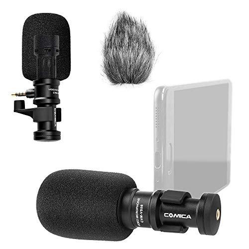 Comica CVM-VS08 Richtmikrofon für iPhone und Android Smartphone mit Windschutz (3,5 mm Klinke)