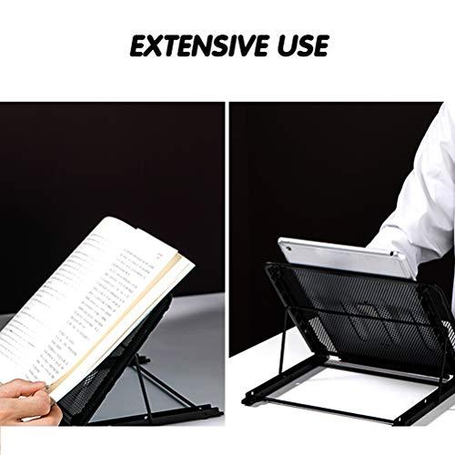 FOCCTS Tablet Laptop Ständer, Notebook Kühlständer mit Höhenverstellbar Multi Winkel Laptopständer Faltbar Edelstahl für Tablet Halter Leseständer, Mesh Kühlungshalter Laptophalter Riser Schwarz