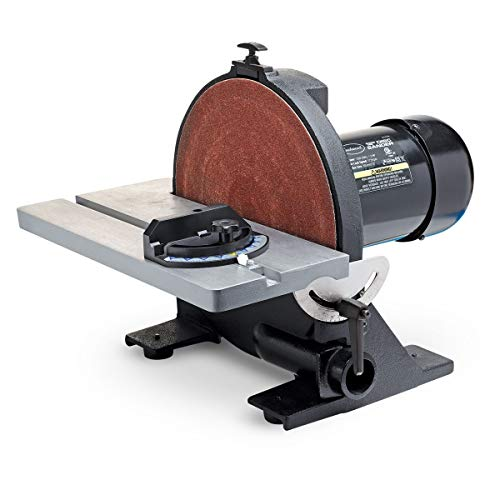 Eastwood 12in Heavy Duty Disc Sander Cast Iron Vacuum Port and Base Adjustable Angle Rubber Feet Vibration Free with Miter Gauge