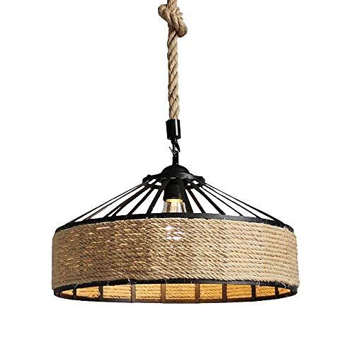 Luces colgantes de cuerda de cáñamo retro para bricolaje, lámpara de techo colgante redonda de hierro industrial vintage de 1 luz, lámpara de araña E27, decoración para sala de estar, comedor, cocina,