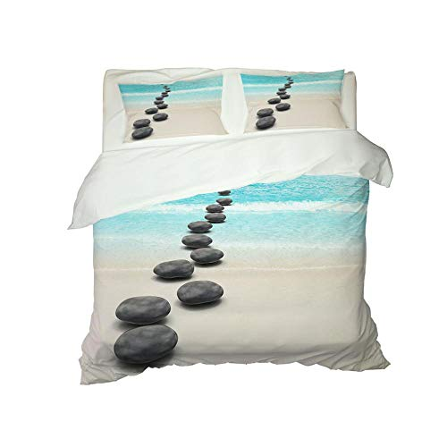 RYQRP Single Duvet Cover Set Blue Beach With Stones Bedding Set with Zipper Closure in Polyester, 3pcs, 1 Quilt Cover 2 Pillowcases for Children Adults, 140x200cm
