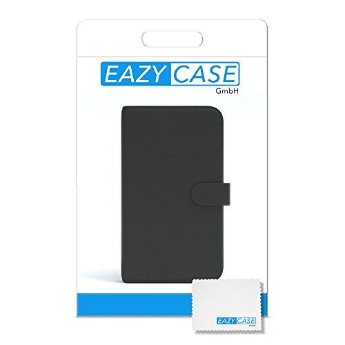 EAZY CASE Tasche kompatibel mit Huawei Mate 8 Schutzhülle mit Standfunktion Klapphülle im Bookstyle, Handytasche Handyhülle Flip Cover mit Magnetverschluss und Kartenfach, Kunstleder, Schwarz - 5