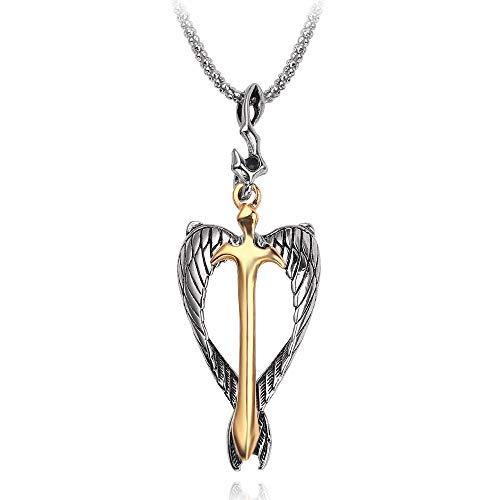 Collar de ala de espada de Color dorado fresco, collares de crucifijo de alma de alas de Ángel para hombres y mujeres, joyería fresca 2019