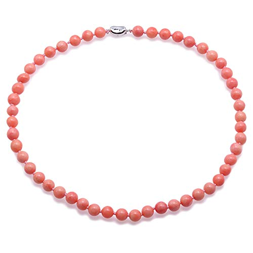 JYX Coral Beaded Necklaces Fine 8.0 mm Pink Round Sea Bamboo Coral Necklace for Women 18.5'