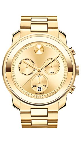 Movado Men's BOLD Large Metals Chronograph Watch with a Printed Index Dial, Gold (3600485)