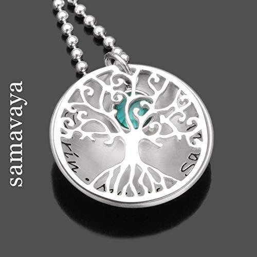 Lebensbaum Kette TREE OF LOVE Crystal 925 Silberkette Namenskette mit Gravur Familienschmuck
