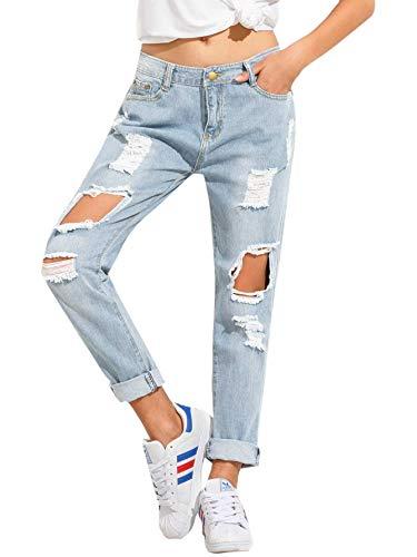 SweatyRocks Women's Ripped Boyfriend Jeans Distressed Denim Ankle Length Jeans Blue-1 XS