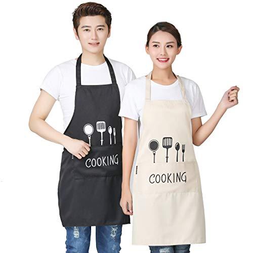 YEFAF Wasserdicht Schürzen Kochschürze, 2 Stück Couples Küchenschürze mit Taschen, für Herren und Damen Koch, Cupcake, Café