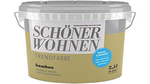 SCHÖNER WOHNEN FARBE Wand- und Deckenfarbe Trendfarbe Bamboo, seidenglänzend, 2,5 l 2 l, Bamboo