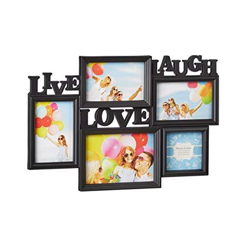 Relaxdays Bilderrahmen Live Love Laugh, 5 Bilder verschiedene Größen, 3D Collage mehrere Fotos, HxB: 31x45,5 cm, schwarz