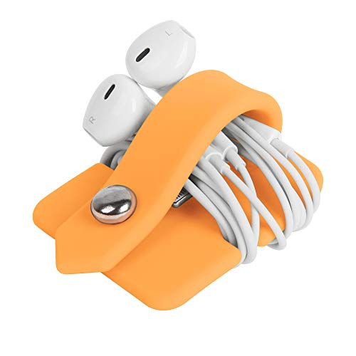 ELFRhino Silicone Earphone Organizer Earphone Wrap Winder Headphone Cord Organizer Wrap Winder Manager/Cable Winder(Orange, 1 Piece)