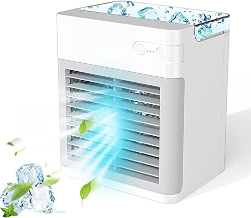 BULO Aire Acondicionado portátil, Ventilador Enfriador de Aire Personal de 2000 MAh con 3 velocidades luz Nocturna de 7 Colores Mini Ventilador de Escritorio de Aire Acondicionado USB White