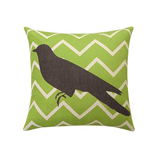 Toll2452 bird throw pillow covers Cute bird silhouette decorative pillow case Green stripe cushion cover Linen cushion case Home decor 18x18
