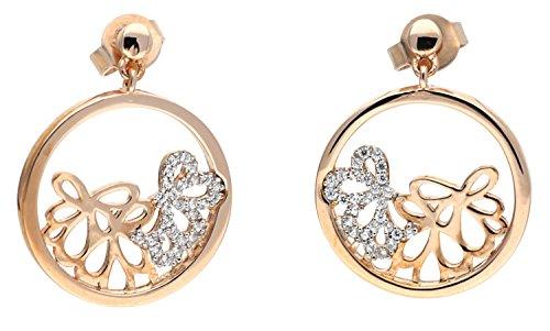 Esprit Damen-Set: 2 Paar Ohrringe Silber vergoldet Zirkonia delicate bouquet rose weiß ESER92948A000