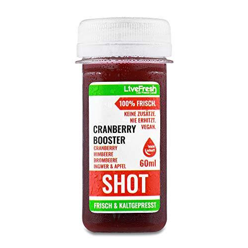 LiveFresh Wellness SHOT - CRANBERRY - 24x 60ml   Kaltgepresst aus frischem Cranberry, Brombeere, Himbeere, Ingwer, Apfel   Keine Zusätze, kein zusätzlicher Zucker   Gekühlt und isoliert geliefert (24)