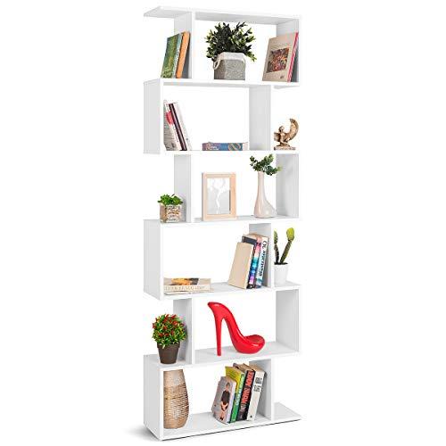 COMIFORT Estantería - Librería de Estilo Nórdico, Moderna y Minimalista, con 7 Baldas de Gran Capacidad, Robusta y Resistente, de Color Blanco