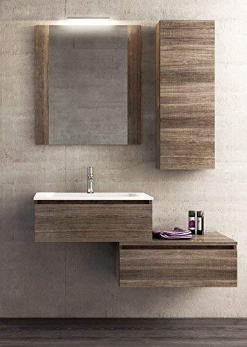 afnedesign. com - Meuble de salle de bain, miroir avec éclairage à lED, tiroirs comme par photo mesure : L.120 P.46 cm