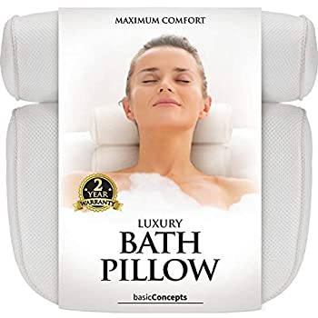 Bath Pillow  Premium Quality  Luxury Bathtub Pillow Rest  Powerful Suction Cups  Bath Pillows for Tub Neck and Back Support Spa Pillow for Bathtub  Breathable 3D Mesh  Hot Tub Pillow  Head