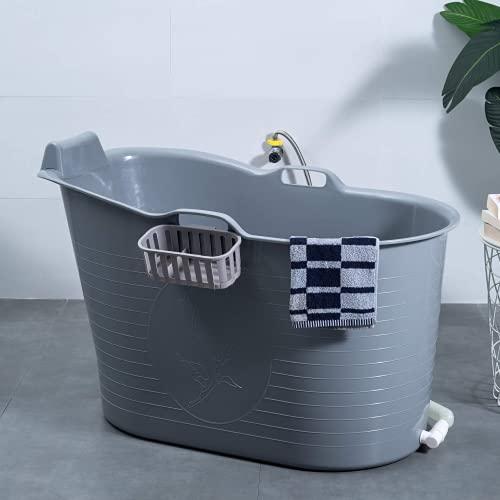Mobile Badewanne, Ideal für das kleines Badezimmer, 97x52x65cm, Stylisch und Stimmungsvoll (Grey)