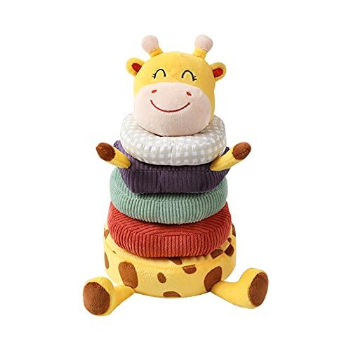 Solinder Apilar Anillos Juguetes,Juguetes apilables Anillos de algodón suave con adorno de jirafa Regalo de cumpleaños para bebés para niños de 3 6 9 12 meses