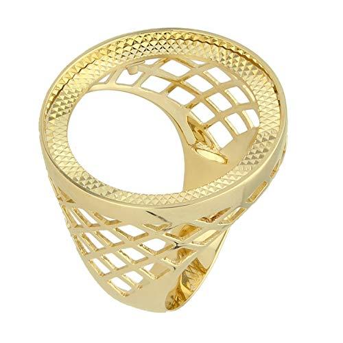 Jollys Jewellers - Anello da uomo in oro giallo 9 carati, con gabbia sovrana, misura T 1/2, diametro 25 mm