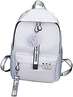 TOOGOO Fashion New Women Canvas Backpack Teenager Cute Hairball Ribbon Students School Bag Girls Large Capacity Travel Bag Pink