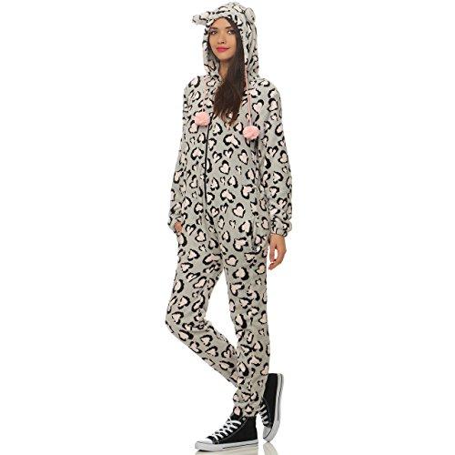 LBB 79B1 Damen Jumpsuit Einteiler Overall Tier Anzug Leopard Herz Gr L