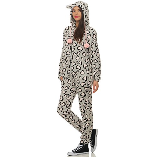 LBB 88Q1 Damen Jumpsuit Einteiler Overall Tier Anzug Leopard Herz Gr S