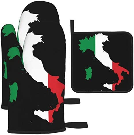antcreptson Italia Italy Italian Map Oven Mitts and 3 Pot Holders Set Soft Cotton Lining with product image