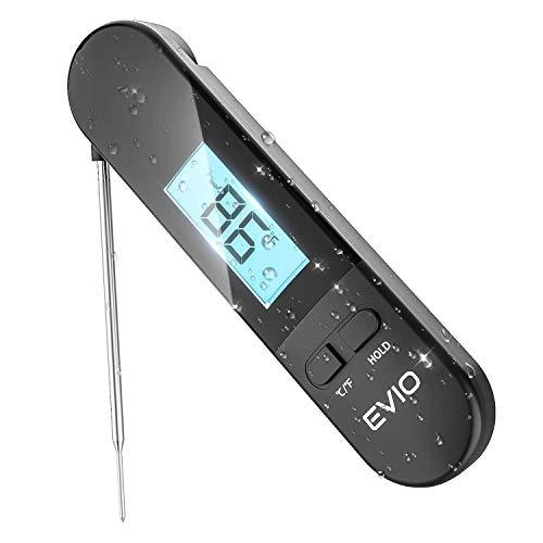 EVIO Bratenthermometer Digital Fleischthermometer Instant Read Grillthermometer, IP67 Wasserdicht und LCD Bildschirm Küchenthermometer mit Magnet für Ofen, Öl, Steak, Türkei, Süßigkeiten