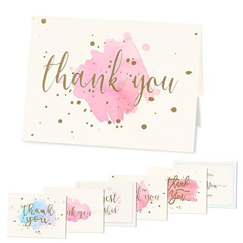 NACTECH 48pcs Dankeskarten Set Grußkarten Danke Karten Danksagungskarten für Hochzeit Geburtstag Babyparty Taufe Brautparty Jubiläum Brautpartys(9.5×14cm)