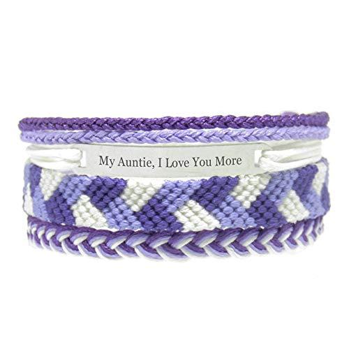 Miiras Familia Pulsera Hecha a Mano - My Auntie, I Love You More - Púrpura - Hecho de Hilo de Bordar y Acero Inoxidable - Regalo para Mi Tia
