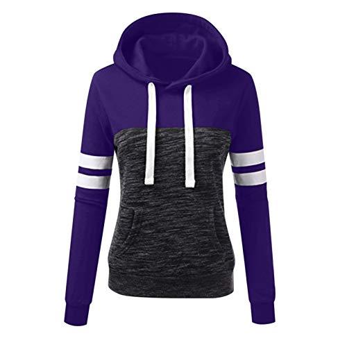 BATKKM Womens Warm Hoodie Sweatshirts Casual Sport Contrast Long Sleeve Drawstring Fleece Pullover Outwear With Pockets(A-Purple,S)