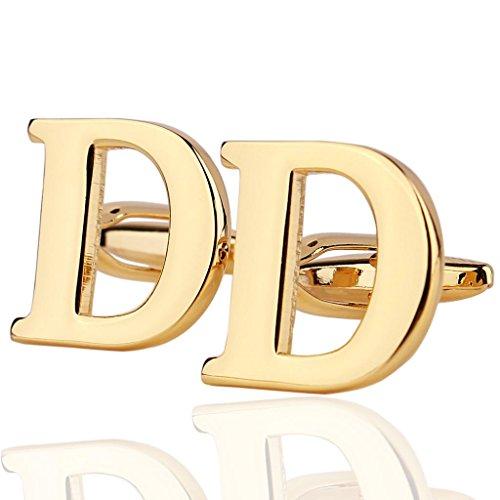 AmDxD Bijoux Chemises Collections de boutons de manchette pour homme Lettre de l'alphabet D Doré Environ 18 20