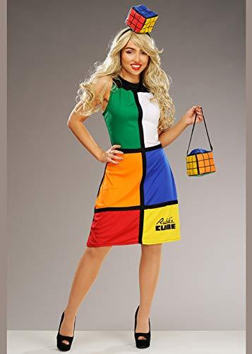 Struts Costume da Donna cubi Giocattolo Rubiks Anni '80 Large (UK 16-18)