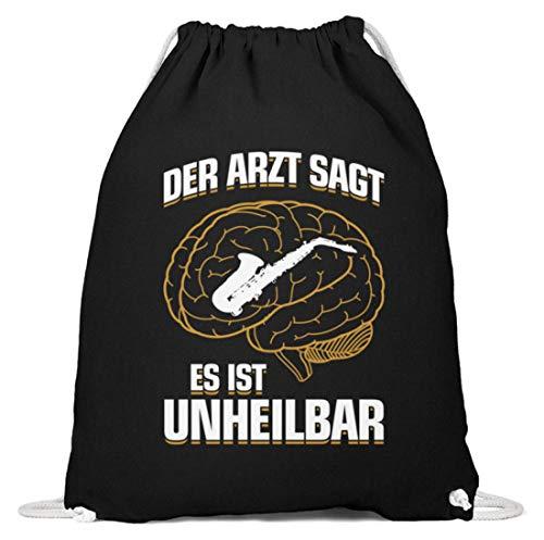 shirt-o-magic Saxophon: .es ist unheilbar - Baumwoll Gymsac -37cm-46cm-Schwarz