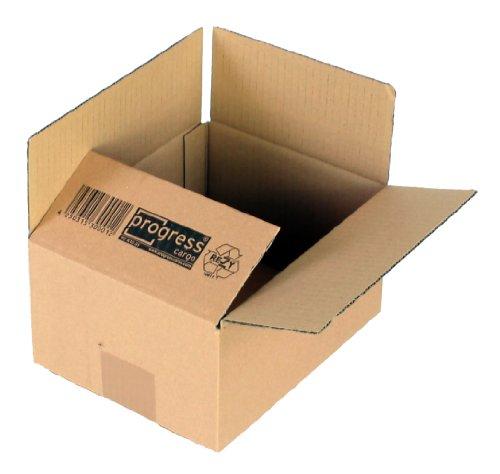ProgressCargo PC K20.01 - Caja plegable de cartón corrugado (10 unidades, A5+, 217 x 172 x 110 mm, corrugado doble), color marrón