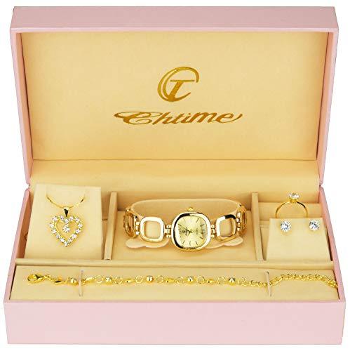 Geschenkset Damen Armbanduhr - Schmuck Set- Halskette-Ring- Ohrringe - Armband