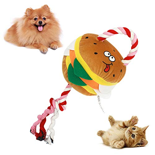 zhenleisier Pet Toys,Pet Cats Kitten Catnip Cute Cotton Rope Hamburger Shape Plush Doll Squeaky Chew Toy Teeth Cleaning Interactive Hunting Exerccise Need Toy Hamburger