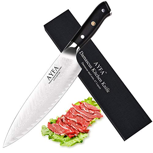 AYFA Chef Knife 8 Inch, Damascus Japanese AUS-10 High-end Steel Stainless Blade Lasts a Lifetime Made for Restaurant Kitchen or Home Cook