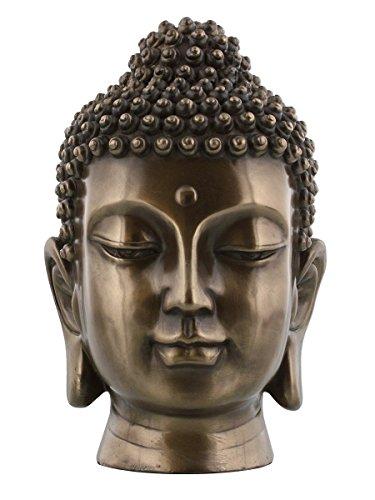 PTC 6.5 Inch Buddha Head Buddhist Religious Bronze Finish Statue Figurine