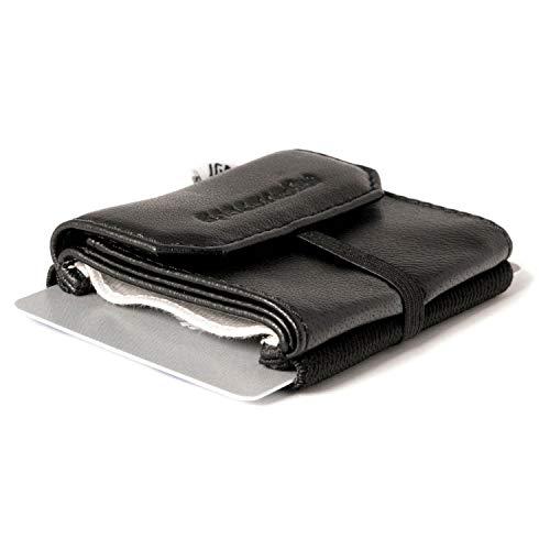 Space Wallet Pull I Mini Portemonnaie für Damen & Herren I Echtleder Geldbörse für bis zu 15 EC-Karten/Kreditkarten I Münzfach & Scheinfach I Kartenetui und Geldbeutel I Night Guard