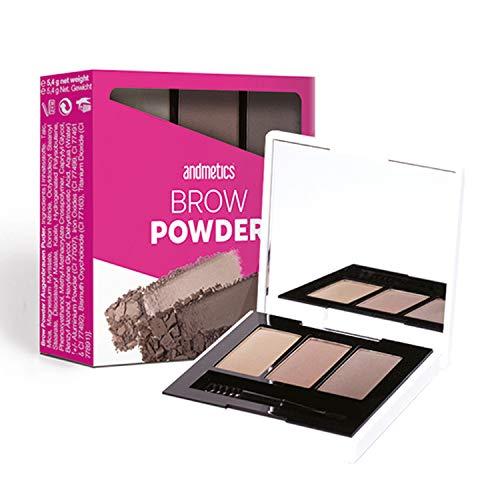 andmetics BROW Powder Trio - 3 colori inclusi specchio e applicatore - kit per il trucco