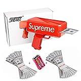 Sheatee Gun Pistolet d'argent Rouge Pistolet d'argent Pistolet d'argent Super Pistolet d'argent Pistolet Dollar Rendre Le Pluie Pistolet (Batterie Incluse) avec 20,000 $ Fake Money