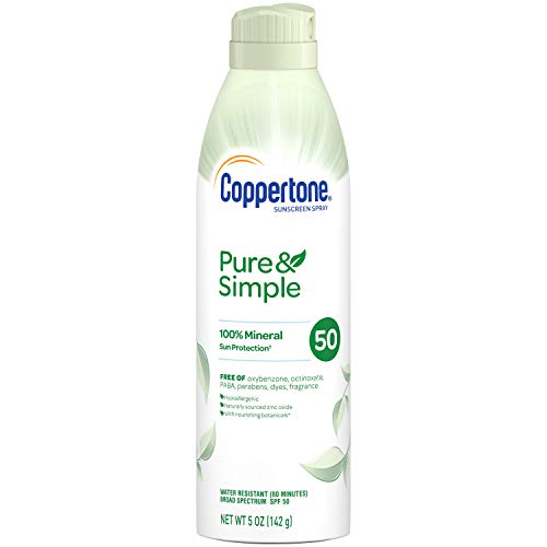 Coppertone Pure Simple Mineral SPF 50 Sunscreen Spray Zinc Oxide Mineral Sunscreen Hypoallergenic, 5 Ounce